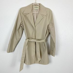 Eddie Bauer Khaki Long Sleeve Trench Coat w/ Belt